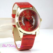 Unusual Designer Gold Pltd & Red Leather Ladies Gents Unisex Date Display Watch