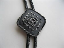 BOLO TIE #1747-2A - Aztec - Diamond Shape with Amber Stone