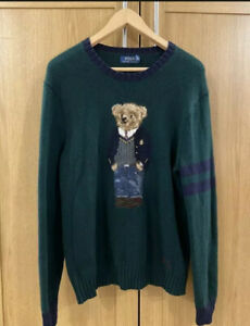 Ralph Lauren Teddy Bear Sweater Size Medium Mens Jumper Knit Green rare find