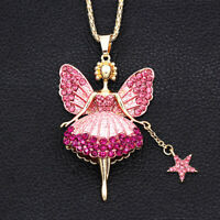 Betsey Johnson Pink Crystal Ballet Fairy Angel Star Pendant Chain Necklace Gift