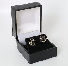Silver earstuds made by David Andersen Norway, Hand enamelled.