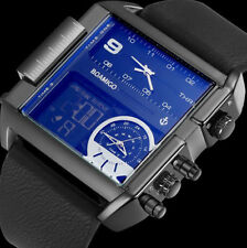 men sports watches 3 time zone big man fashion watch leather rectangle wristwatc