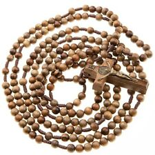 20 Decade Wood Rosary Catholic 7mm Brown Beads Corded St Benedict Crucifix 43""