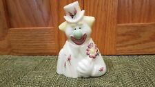 Fenton Glass Hand Painted Pearly White Iridescent Clown Fools In Love Figurine