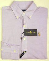 NWT $98 Polo Ralph Lauren Long Sleeve KNIT Mesh Oxford Shirt Men Purple NEW