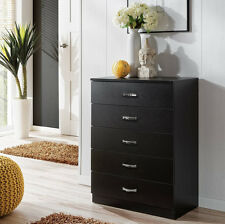 Wide Chest of 5 drawers Bedside draws Bedroom furniture Hallway storage Black