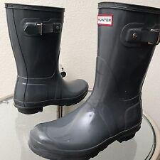 Hunter Original Gloss Short Rain Boots Gray Size EUR 39 Men 7 Women 8 (W23700)