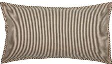 Quilted King Pillow Sham Woven Ticking Stripe Cream Gray Farmhouse Sawyer Mill