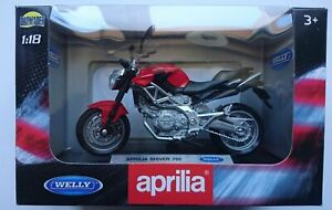WELLY APRILIA SHIVER 750 1:18 DIE CAST MODEL NEW IN BOX LICENSED MOTORCYCLE