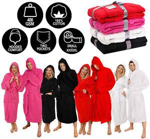 HOODED BATHROBE 100% COTTON UNISEX HOSPITAL HEAVY TOWEL DRESSING GOWN S-5XL