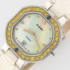 Clerc SS Automatic Fancy Yellow Diamond Bezel MOP Dial Ladies Watch 29mm 8906-Y