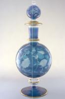Blue Decanter Glass Engraved Perfume Bottle Handmade Home Decor Gift