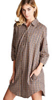 JODIFL Womens Brown Plaid Chic 3/4 Sleeve Casual Shirt Dress Shirtdress S M L