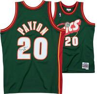 "Gary Payton Supersonics Signed Green 1995 Swingman Jersey & ""The Glove"" Insc"