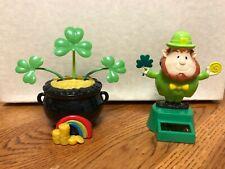 Solar Powered Dancing Toys Set of 2 St. Patricks Day - Leprechaun & Pot of Gold