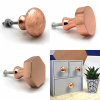 Copper Plated Round Square Hexagonal Cupboard Bedroom Kitchen Door Knobs Pulls