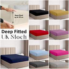 25cm DEEP Fitted Sheet Mattress Bed Sheets Single Double King & Super King Size