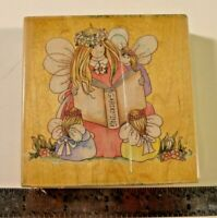 """LARGE 4""""X4"""" MOUNTED STAMPS HAPPEN RUBBER STAMP APPLEBLOSSOM GARDEN FAIRY FAERIE"""