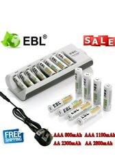 8X EBL  AA AAA Rechargeable Battery + 8 Slot Smart Charger