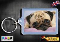 PUG Pink Pet Puppy Dog Key Ring Split Rings Key Fob Clip Gift, Keyring