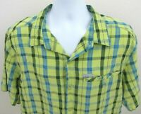 Columbia Mens Shirt Size XL Vented Back Green Plaid Chest Pocket Camping Fishing