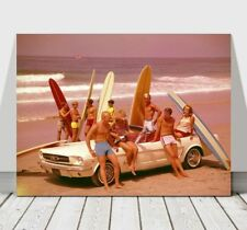 """COOL RETRO SURFING CANVAS ART PRINT POSTER -Ford Mustang Beach Surfboards 24x18"""""""