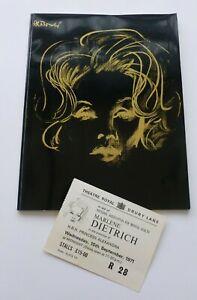 Marlene Dietrich  Royal Gala Charity Midnight Show Brochure & Ticket 15 Sep 1971