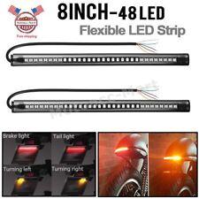 2x Flexible Motorcycle 48LED Tail Light Strip Turn Signal Brake Running Lights