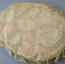 """Antique French Normandy Lace Padded Pink Silk Oval 10"""" Lingerie Hanky Holder"""