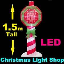 Santa Please Stop Here Pole Christmas Outdoor Air Power Inflatable w LED Lights