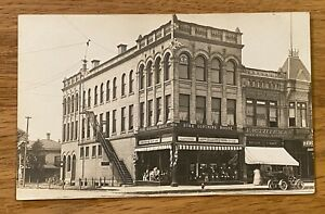 Sheboygan, WI Wisconsin 1910 RPPC Postcard Thieman Drug Store, Star Clothing !!!