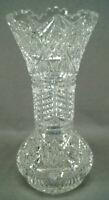ABP American Brilliant Period Clear Cut Crystal Hobstars Crosshatching Fans Vase