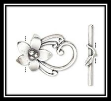 Clasps, Silver, Value Variety Pack of 22, Flower/Crystal/Pewter