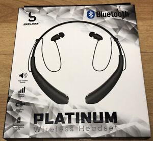 Rechargeable Bass Jaxx Platinum Wireless Bluetooth Neckband Headset W Micro USB