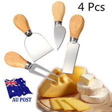 4 in 1 Cheese Cutter Butter Knife Fork Wooden Handle Kitchen Stainless Steel HKI