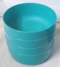 Tupperware Stackable 20-oz Cereal Bowls Set Aqua Blue Premier Design #2108 New