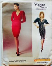 Vogue Paris Original #2405 EMANUEL UNGARO MOCK WRAP DRESS Pattern Sz 12 UC/FF