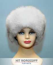 Blue FOX Winter Fur Hat Black top Roller Schapka Pelzmütze Fellmütze Wintermütze