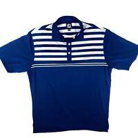 FootJoy FJ Men's Golf Polo Shirt, Blue And White Stripes Size L Soft EUC