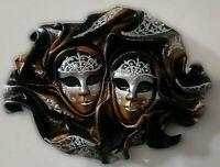 Tuareg Doppio - Maschera veneziana artigianale in ceramica e cuoio