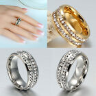 SZ 8-10 Unisex CZ Stainless Steel Ring Men Women Wedding Band Black Silver Gold