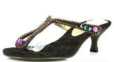 Donald J Plner Vita Brown Suede Jeweled Sandals 7153 Size 8 M NEW!
