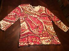 Floral Ann Taylor Cardigan Petite Size M Red and White 3/4 Sleeve Sweater