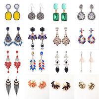 Fashion Women Rhinestone Crystal Ear Stud Earrings Drop Dangle Chic Jewelry Gift