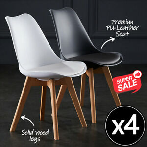 2/4x Kitchen Dining Chairs Chair Replica PU Leather Cafe Chair Wooden Legs