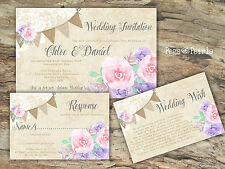 PERSONALISED RUSTIC BUNTING/LACE/PASTEL/PINK/LILAC WEDDING INVITATIONS PACKOF10