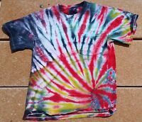 Tie Dye T-Shirt Adult S Red Fire Ripple W/ Pocket 100% Cotton Free S/H
