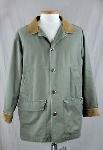 Vintage LL Bean Flannel Lined Olive Green Canvas Chore Field Barn Coat Jacket L