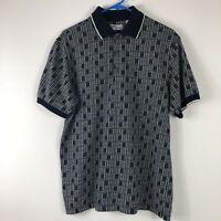Vintage Penguin Sport Mens Golf Rugby Polo Shirt Sz Medium Blue White Checkered