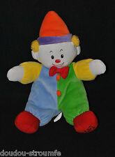 Peluche Doudou Clown GUND BABY Galeries Lafayette Vert Jaune Hochet 34 Cm TBE